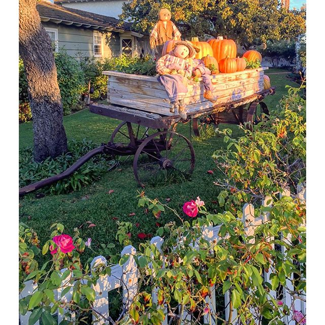 Fall Scene of Scarecrows, Pumpkins & Antique Wagon