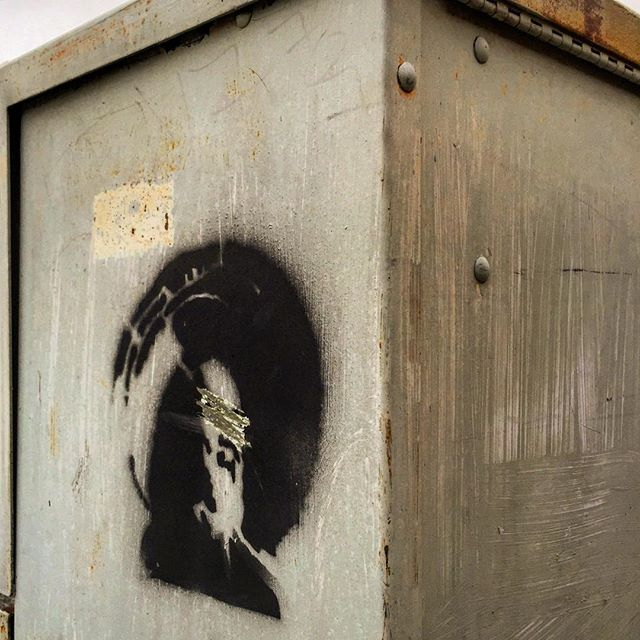Composite Image Of Stencil Graffiti >> Utility Box Stencil Graffiti Blinded Reality Seo