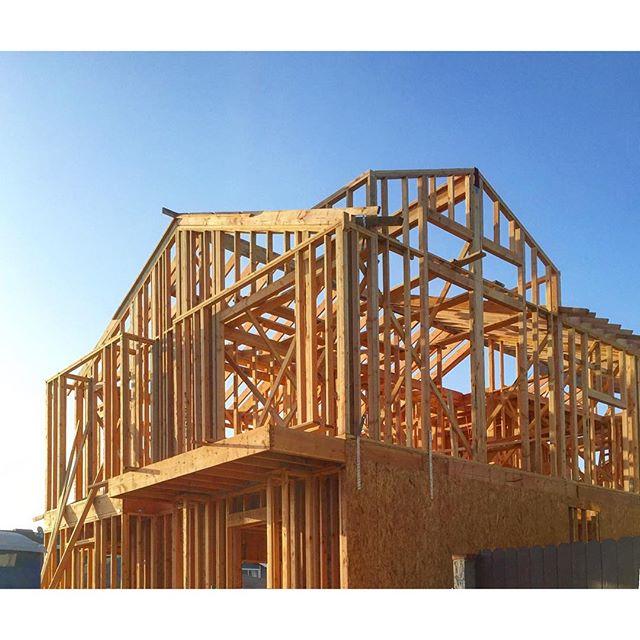 Wooden House Framework & Blue Sky