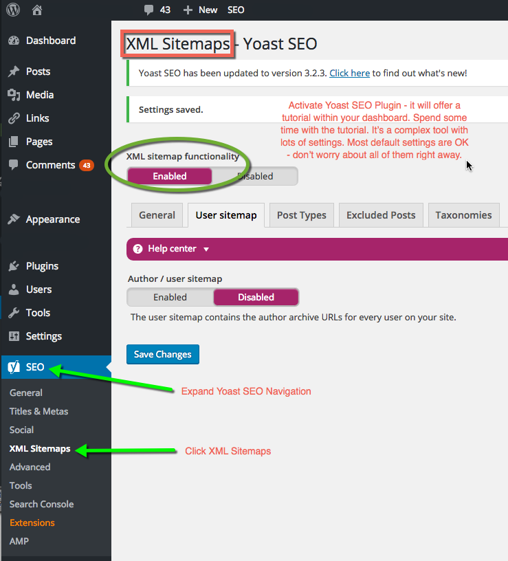 Yoast SEO Dashboard WordPress