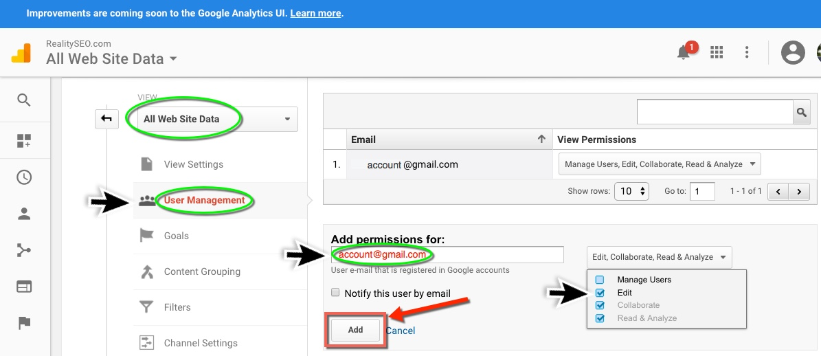Analytics Add User Admin
