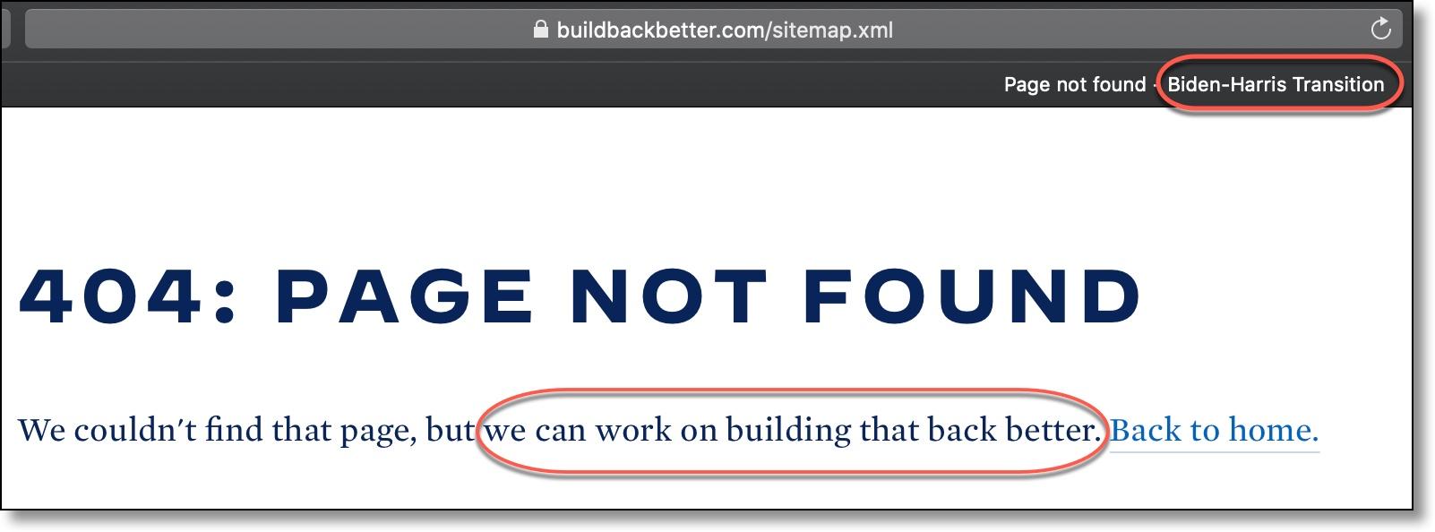 Biden Harris 404 Error Page Not Found